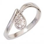 Damen Ring Tropfen 585 Gold Weißgold 9 Diamanten Brillanten 0, 08ct. Weißgoldring