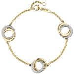 Armband 585 Gold Gelbgold Weißgold bicolor 81 Diamanten Brillanten 18 cm