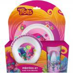TROLLS Kinder Frühstücks-Set 3-teilig aus Melamin Kindergeschirr lila violett
