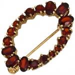 Brosche Granat 375 Gold Gelbgold 18 Granate rot Goldbrosche Granatschmuck