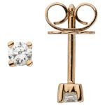 Ohrstecker 585 Gold Rotgold 2 Diamanten Brillanten 0, 14 ct. Ohrringe