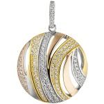 Anhänger rund 925 Sterling Silber tricolor dreifarbig vergoldet 106 Zirkonia