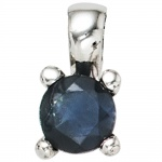 Anhänger 925 Sterling Silber rhodiniert 1 blauer Safir