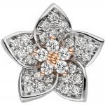 Anhänger Blume 585 Gold Rotgold Weißgold bicolor 30 Diamanten Brillanten