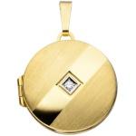Medaillon rund 333 Gold Gelbgold mattiert 1 Zirkonia Anhänger zum Öffnen