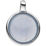 Anhänger 925 Sterling Silber mit 1 Calzedon blau rund Silberanhänger