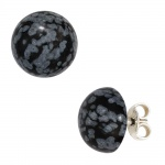 Ohrstecker rund 925 Sterling Silber 2 Schneeflocken-Obsidiane Ohrringe
