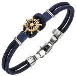 Armband Steuer Steuerrad 2-reihig Baumwolle dunkelblau mit Edelstahl 19 cm