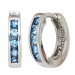 Creolen rund 925 Silber 10 Zirkonia blau Ohrringe Silberohrringe Silbercreolen