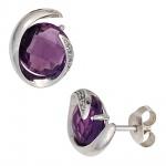 Ohrstecker 585 Weißgold 2 Amethyste lila violett 10 Diamanten Ohrringe