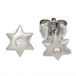 Kinder Ohrstecker Stern Sterne 925 Sterling Silber mattiert 2 Zirkonia Ohrringe