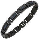 Armband Edelstahl schwarz beschichtet mit Carbon blau 21 cm