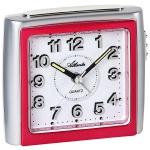 Atlanta 1958/1 Wecker Quarz analog pink silbern leise ohne Ticken Licht Snooze