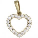 Anhänger Herz 585 Gold Gelbgold 18 Diamanten Brillanten 0, 50ct. Herzanhänger