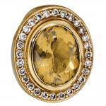 Anhänger oval 585 Gold Gelbgold 28 Diamanten Brillanten 0, 23ct. 1 Citrin orange