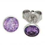 Ohrstecker rund 925 Sterling Silber rhodiniert 2 Zirkonia lila violett Ohrringe