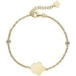 Armband Blume 925 Sterling Silber gold vergoldet 2 Zirkonia 22 cm