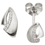Ohrstecker 925 Sterling Silber matt 14 Zirkonia Ohrringe Silberohrringe