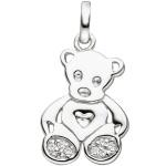 Kinder Anhänger Teddy Teddybär 925 Sterling Silber 8 Zirkonia Kinderanhänger
