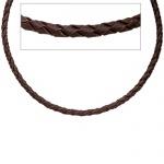 Leder Halskette Kette Schnur braun 45 cm Karabiner 925 Sterling Silber