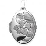Medaillon oval Blume 925 Sterling Silber mattiert Anhänger zum Öffnen