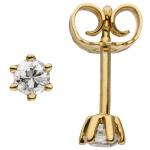 Ohrstecker 585 Gold Gelbgold 2 Diamanten Brillanten 0, 24 ct. Ohrringe