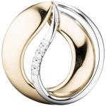 Anhänger 585 Gold Gelbgold Weißgold bicolor 5 Diamanten Brillanten Goldanhäger