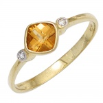 Damen Ring 333 Gold Gelbgold 1 Citrin orange 2 Diamanten 0, 02ct. Goldring