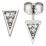 Ohrstecker Dreieck spitz Edelstahl Ohrringe 6 Kristalle