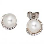 Ohrstecker 585 Gold Weißgold 2 Süßwasser Perlen 16 Diamanten Brillanten Ohrringe