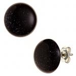 Ohrstecker rund 925 Sterling Silber 2 Goldfluss-Steine blau Ohrringe
