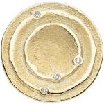 Anhänger rund 585 Gold Gelbgold matt 4 Diamanten Brillanten 0, 04ct. Goldanhänger