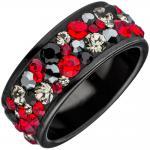 Damen Ring Edelstahl schwarz beschichtet mit SWAROVSKI® ELEMENTS rot