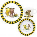 JANOSCH Kinder Frühstücks-Set 3-teilig aus Melamin Kindergeschirr gelb schwarz