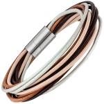 Armband 13-reihig Leder braun beige mit Edelstahl matt 20 cm Lederarmband