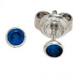 Ohrstecker rund 925 Sterling Silber rhodiniert 2 Zirkonia blau Ohrringe