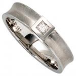Damen Ring 950 Platin mattiert 1 Diamant 0, 10ct. Prinzess-Schliff Platinring