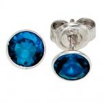 Ohrstecker rund 925 Sterling Silber 2 Zirkonia blau Ohrringe