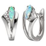 Creolen 925 Silber mit Zirkonia 2 Opale Ohrringe Silbercreolen Silberohrringe