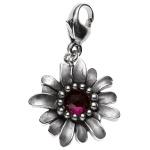 Einhänger Charm Blume 925 Sterling Silber rhodiniert 1 Granat rot