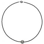 Collier Kette mit Anhänger Spinell und Tahiti Perle mit 925 Silber 43 cm