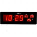 Atlanta 4461 Wanduhr Netzuhr digital schwarz rot Datum Thermometer Digitalwecker