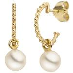 Halbcreolen 585 Gold Gelbgold 2 Süßwasser Perlen Ohrringe Creolen Perlenohrringe