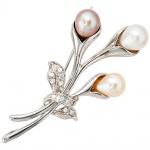 Brosche Blume 925 Sterling Silber 3 Süßwasser Perlen 13 Zirkonia Perlenbrosche