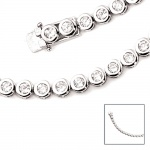 Armband 925 Sterling Silber 28 Zirkonia 19 cm Silberarmband Kastenschloss
