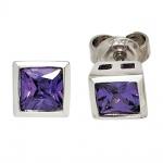 Ohrstecker quadratisch 925 Sterling Silber 2 Zirkonia lila violett Ohrringe