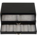 Sacher Schmuckkassette schwarz stapelbar Holz mit Leder 2 Schubladen