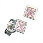 Ohrstecker quadratisch 925 Sterling Silber 2 Zirkonia rosa rosé Ohrringe