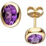 Ohrstecker oval 585 Gold Gelbgold 2 Amethyste lila violett Ohrringe Goldohrringe