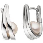 Creolen 925 Sterling Silber 2 Süßwasser Perlen Ohrringe Perlenohrringe